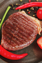 savory : grilled juicy beef steak served with hot cayenne pepper