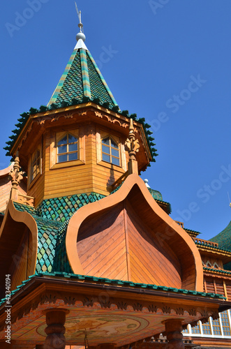 Roof of tower in wooden palace of tzar in Kolomenskoe, Moscow