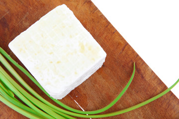 dairy food : feta white cheese cube