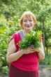 woman with  dill and parsley