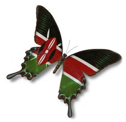 Kenya flag on butterfly
