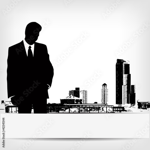 abstract businessman silhouette background