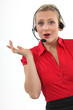 Chirpy blond call-center worker