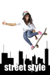 Skateboarder woman jumping isolated showing thumbs up