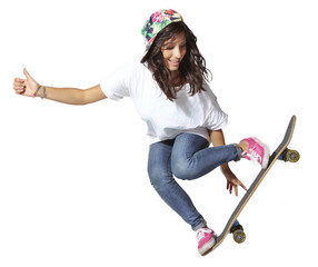 Skateboarder woman jumping isolated, showing thumbs up