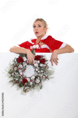Woman singing Christmas carols