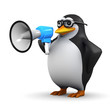 3d Penguin in glasses with megaphone