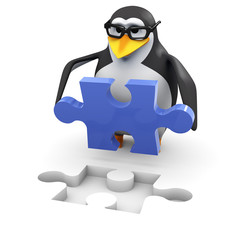 3d Penguin in glasses solves the jigsaw puzzle