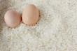 Egg on white rice texture
