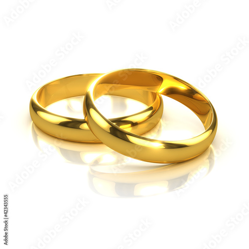 3d Two Gold Wedding Rings side view