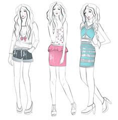 Young fashion girls illustration.