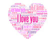 """I LOVE YOU"" Tag Cloud (card heart romance valentine's day pink)"