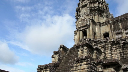 Entrance to Angkor Wat tower, Siem Reap, Cambodia - Time lapse