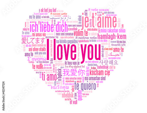"""""""I LOVE YOU"""" Tag Cloud (card heart romance valentine's day pink)"""