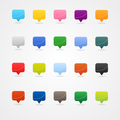 Colored mapping pins  square web buttons on white. Icon set.