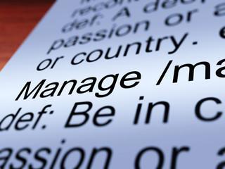 Manage Definition Closeup Showing Management