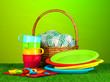 bright plastic disposable tableware and picnic basket
