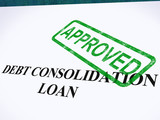 Debt Consolidation Loan Approved Stamp Shows Consolidated Loans