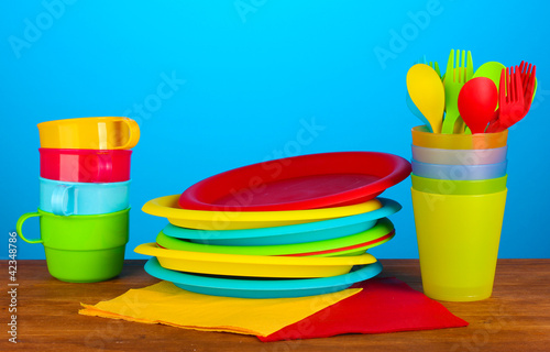 bright plastic disposable tableware