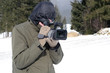 cameraman at work in winter nature