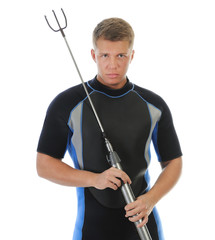 underwater hunter in full  equipment