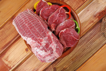 red meat on wooden table
