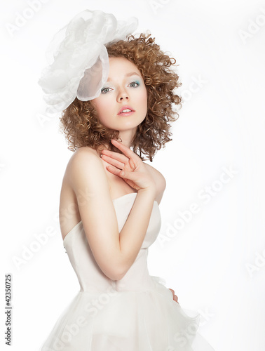 Bride young beauty portrait. Wedding dress and accessories
