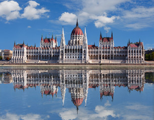 Budapest - Hungarian parliament.with reflection in Danube river