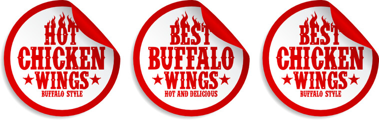 Best hot chicken wings stickers set
