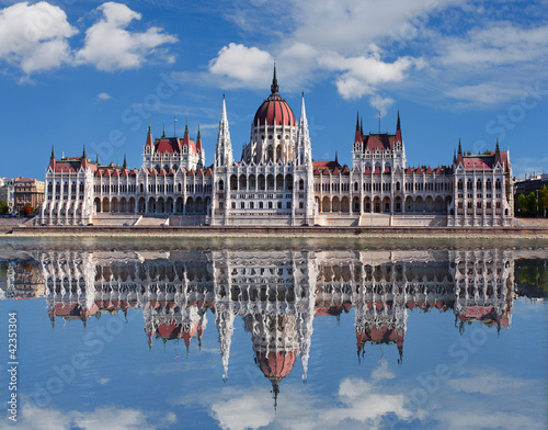 Poster Budapest - Hungarian parliament.with reflection in Danube river