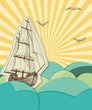 Retro sea background with sailing ship