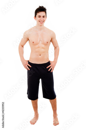handsome young muscular man. Isolated on white.