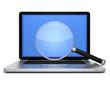 Laptop mit Lupe frontal