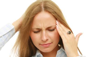 A portrait of a woman with a headache
