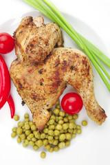 meat food : roast chicken garnished