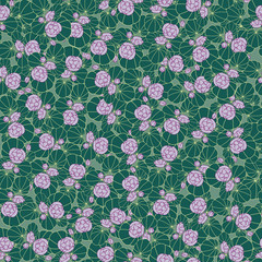 seamless pattern from flowers of water lilies in a retro style
