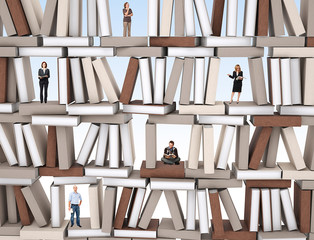 people on books wall
