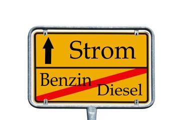 Ortsschild Treibstoff / Strom