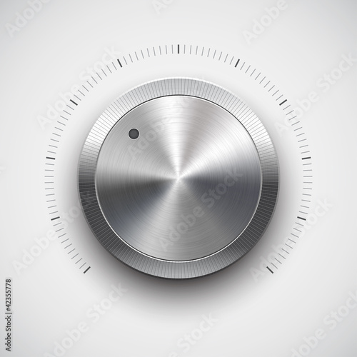 Volume button (music knob) with metal texture (chrome)