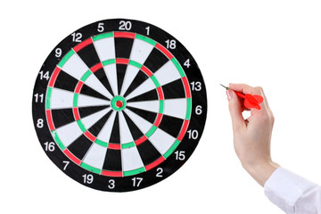 dart in hand and dartboard  isolated on white