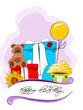 Geburtstag, Karte mit Geschenken und Bär