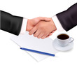 Handshake over paper and pen. Vector illustration.