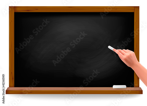 Hand writing on a blackboard. Vector