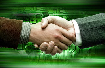 hand shake tech background