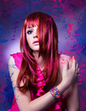 Fototapety Mädchen mit rotem Haar und pinken Strähnen - haircolor 05