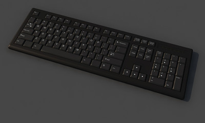 3D Full Black keyboard