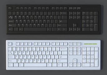 3D Black and white  keyboards