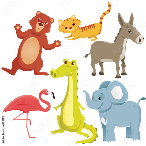 Cartoon animals, vector illustration