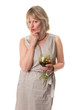 Attractive Woman in Thought Holding Wine Glass