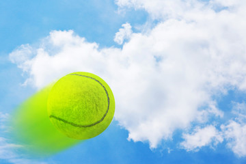 Tennis on sky background
